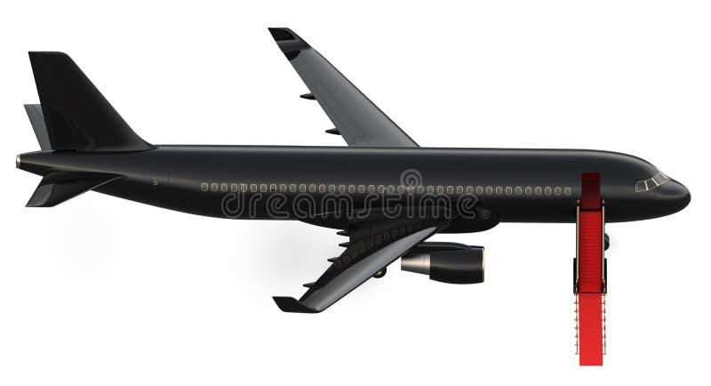 Bild av den privata strålen för svart lyxig charter, nivå storgubbeflygplan med en röd matta, isolat för tolkning 3d på vit arkivbild