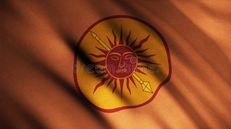 Bild av den röda solen med framsidan som trängas igenom av den guld- polen på bakgrund av framkallande bronsfärg av flaggan djur  royaltyfri illustrationer