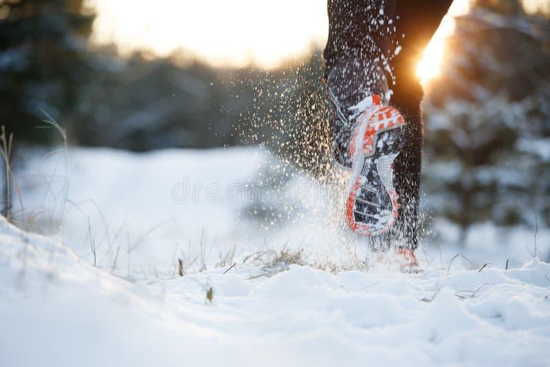 Bild av den rinnande mannen i gymnastikskor på snöig skog i vinter fotografering för bildbyråer