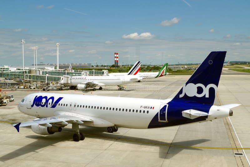 Bild av den sista turen för Joon flygplan Air France meddelade de Joon för avslutningen allra operationerna arkivfoton