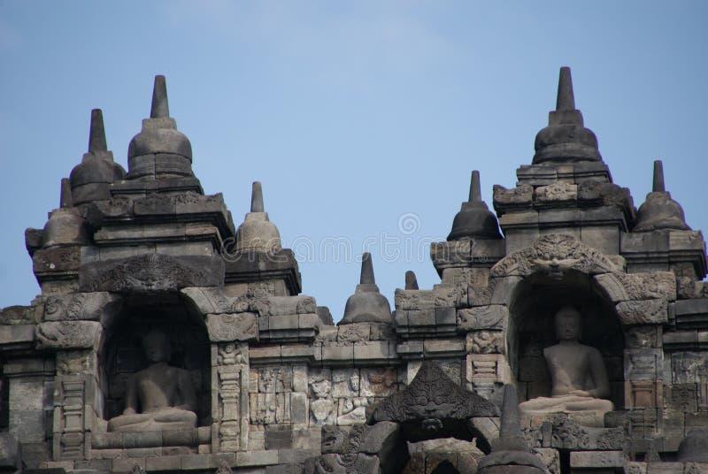Bild av den sittande Buddha i den Borobudur templet, Jogjakarta, Indonesien arkivbild