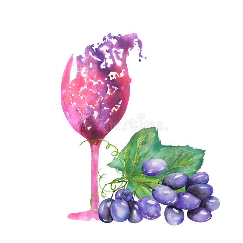 Bild av det abstrakta vattenfärgexponeringsglaset av rött vin och gruppen av blåa druvor Målat hand-dragit i en vattenfärg på en  stock illustrationer