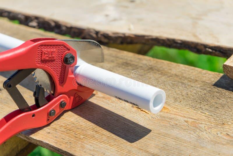 Bild av det bitande plast- röret vid special röd sax arkivfoton