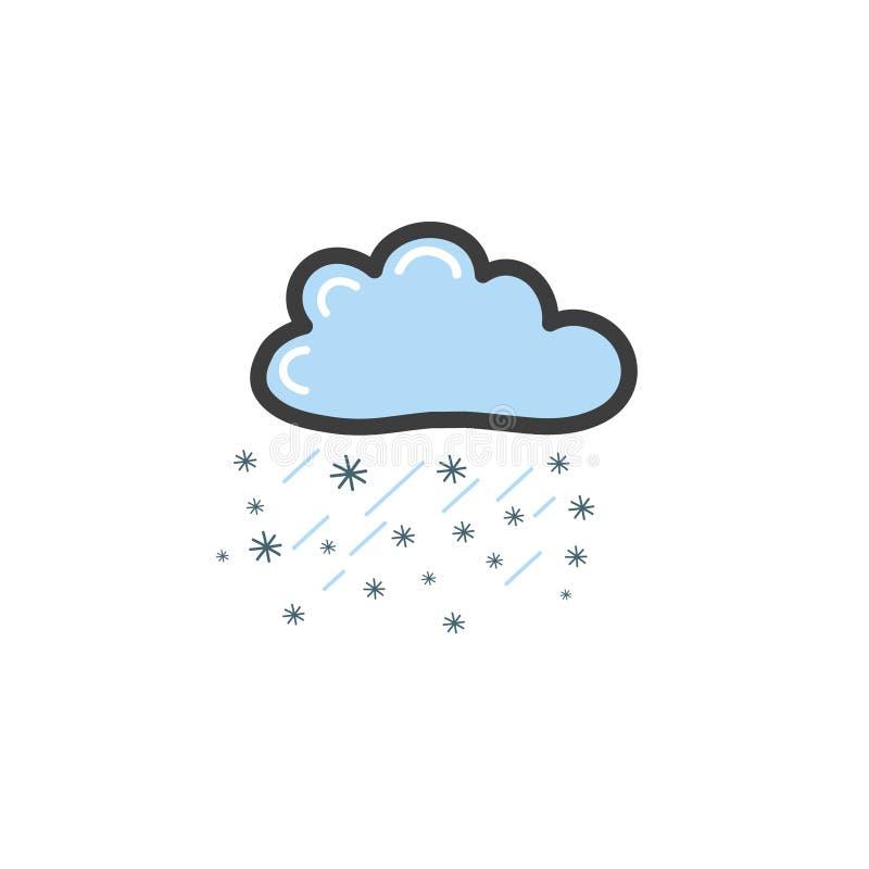 Bild av det blåa molnet med rayn och snöflingor Symbol av vädret Vektorteckning vid handen i stilen av ett klotter stock illustrationer