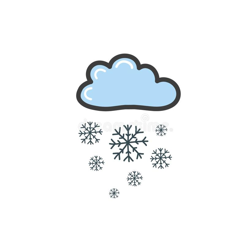 Bild av det blåa molnet med snöflingor Symbol av vädret Vektorteckning vid handen i stilen av ett klotter stock illustrationer