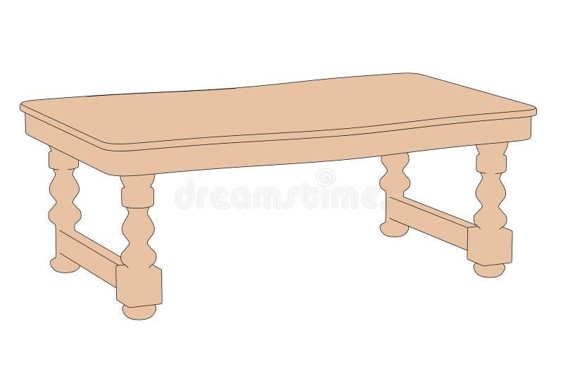 Bild av det gamla köksbordet stock illustrationer