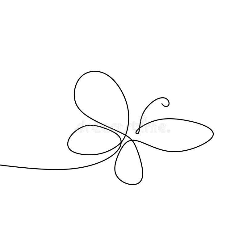 bild av en fortlöpande linje av minimalist fjärilsdjur stock illustrationer