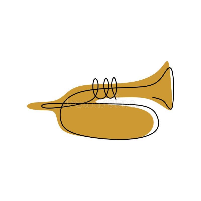 bild av en fortlöpande linje av trumpetmusikinstrument stock illustrationer