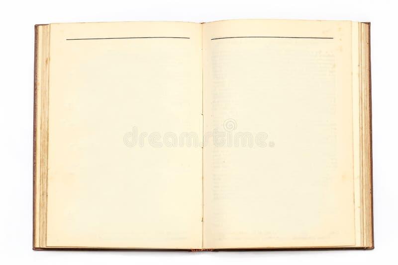 Bild av en gammal bok som är öppen och utan text royaltyfria foton