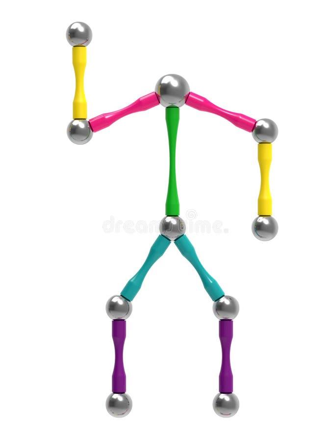 Bild av en leksakman med lyftta armar framförande 3d vektor illustrationer