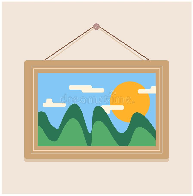Bild av en bild med ett landskap att hänga på spikar på väggen royaltyfri illustrationer