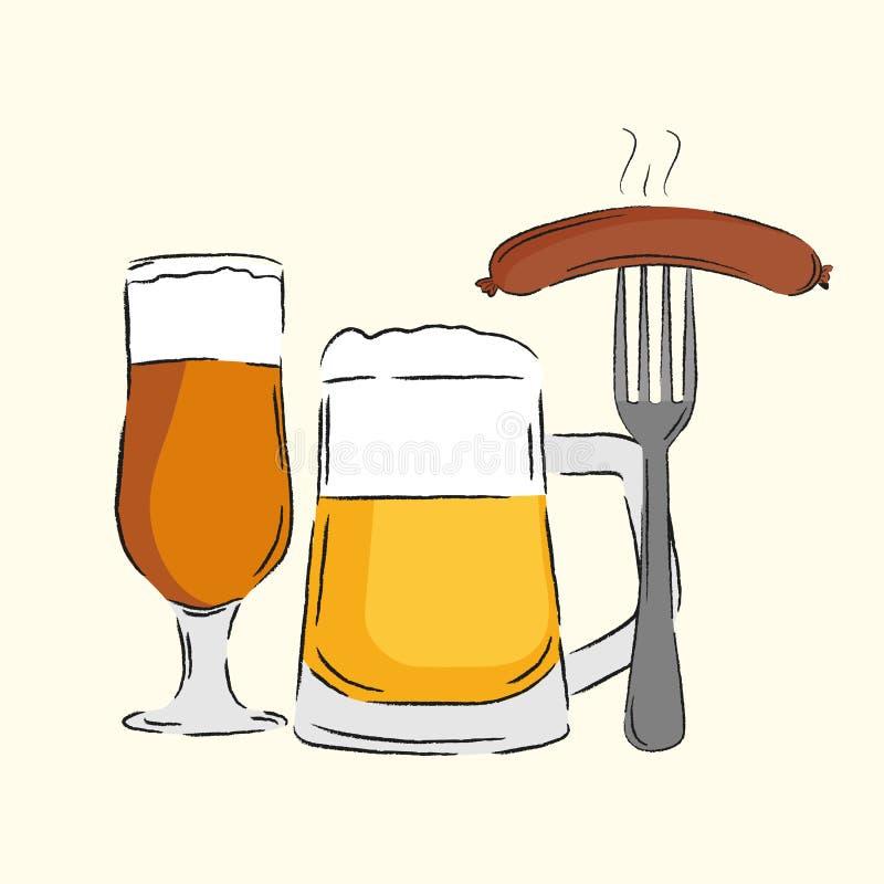 Bild av exponeringsglas med öl och korvar royaltyfri illustrationer