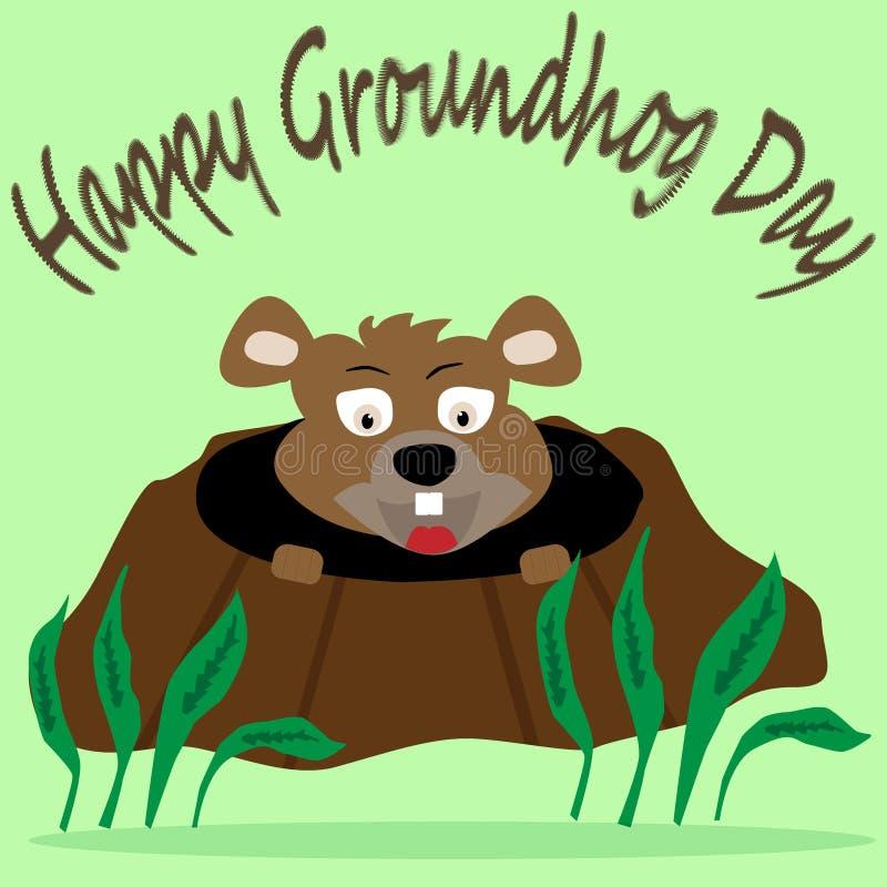 Bild av groundhog som ser ut ur hålet med gräsplaner omkring på ljuset - grön bakgrund vektor illustrationer