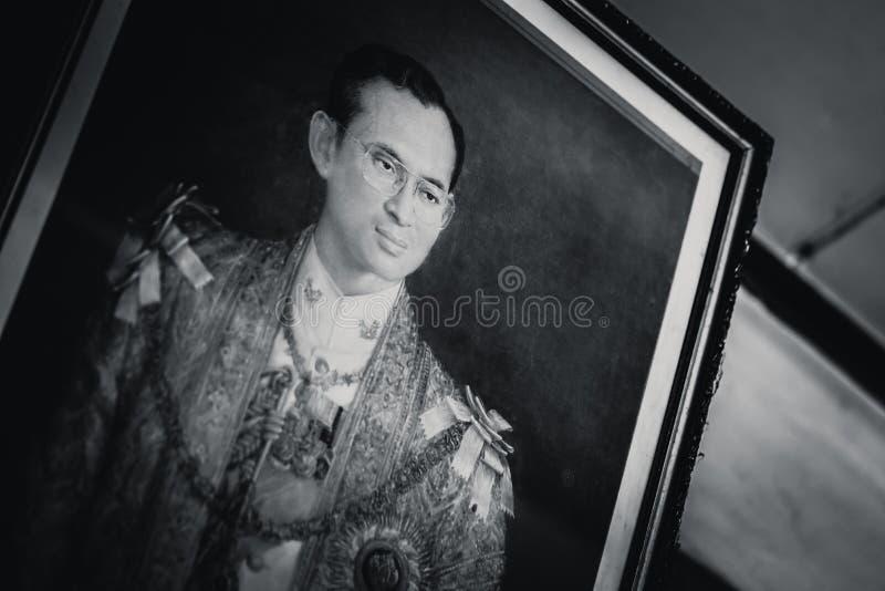 Bild av hans majestät tappningen för konung Rama 9 royaltyfri foto