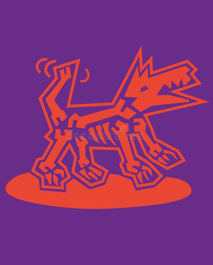Bild av hunden, symbol för rengöringsduken, etikett, symbol, minsta dynamisk design, baner Hand dragen designbeståndsdel vektor illustrationer