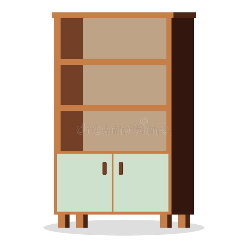 Bild av isolerat på den vita bakgrundsbeståndsdelen av möblemang - tomt kontor eller hem- skåpsymbol, inre vektor för plan design royaltyfri illustrationer