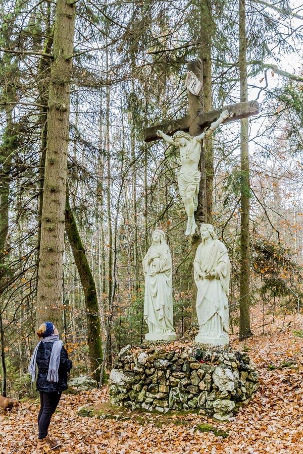Bild av kläder för en vinter för kvinna som bärande framme ber ett kors i skogen royaltyfri fotografi
