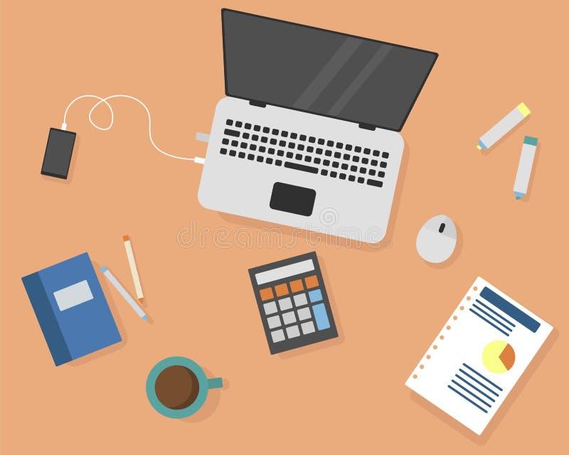 Bild av kontorsarbetsplatsen vektor illustrationer