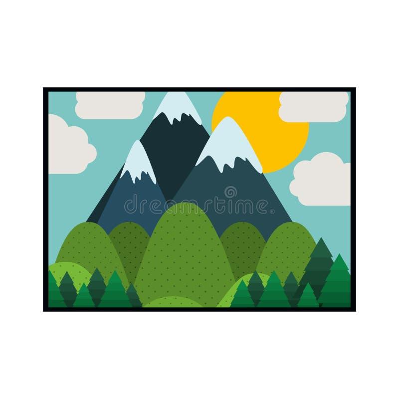 Bild av landskapet som är färgrik med berg stock illustrationer