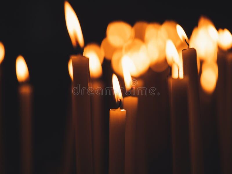 Bild av många brinnande stearinljus med grunt djup av fältet royaltyfri foto