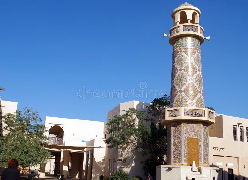 Bild av minaret av Katara Masjid moské en av den mest härliga Masjidsen i Qatar royaltyfri bild