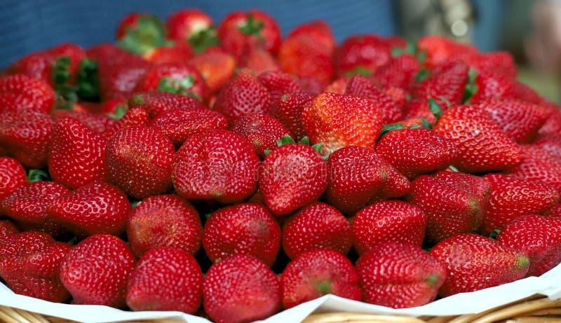 Bild av mogna saftiga röda jordgubbar arkivfoto