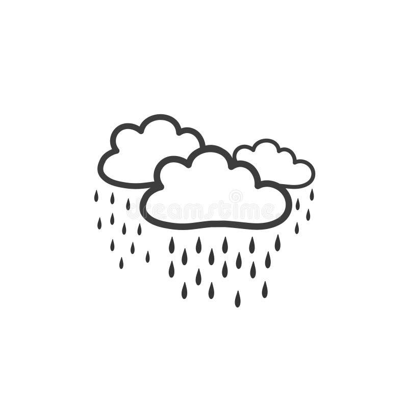 Bild av moln med hällregn Symbol av vädret Vektorteckning vid handen i stilen av ett klotter royaltyfri illustrationer