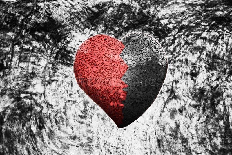 Bild av röd järnhjärta på grungebakgrund vektor illustrationer