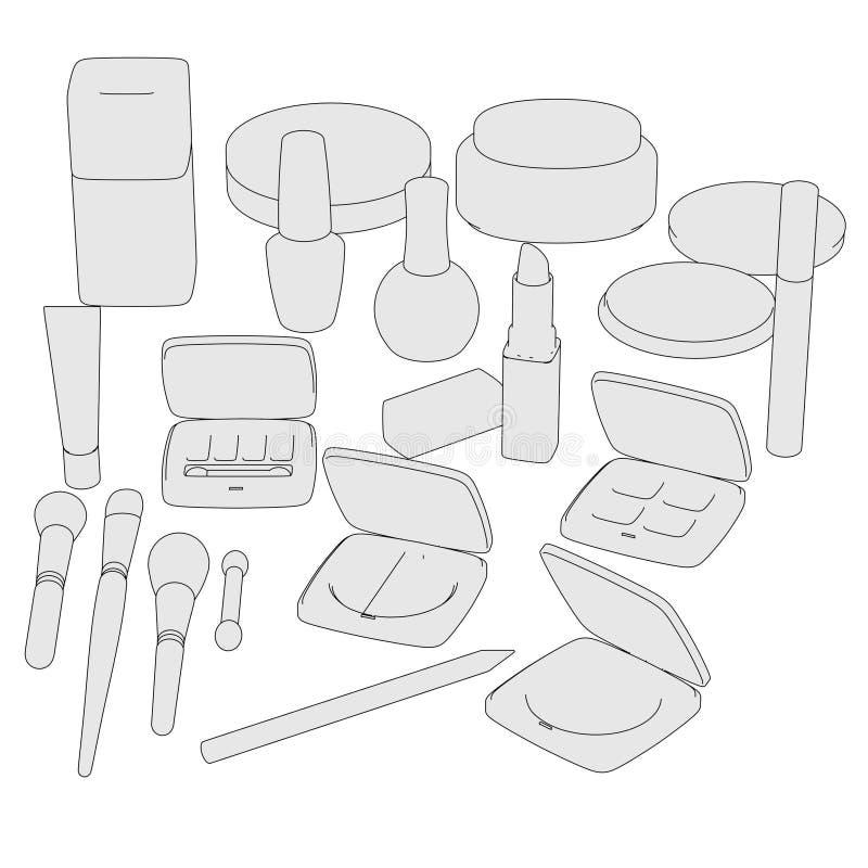 Bild av skönhetsmedeluppsättningen royaltyfri illustrationer