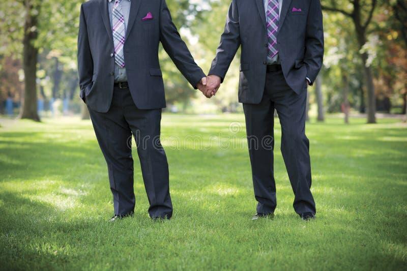 Bild av två män som rymmer händer på glat bröllop royaltyfria foton