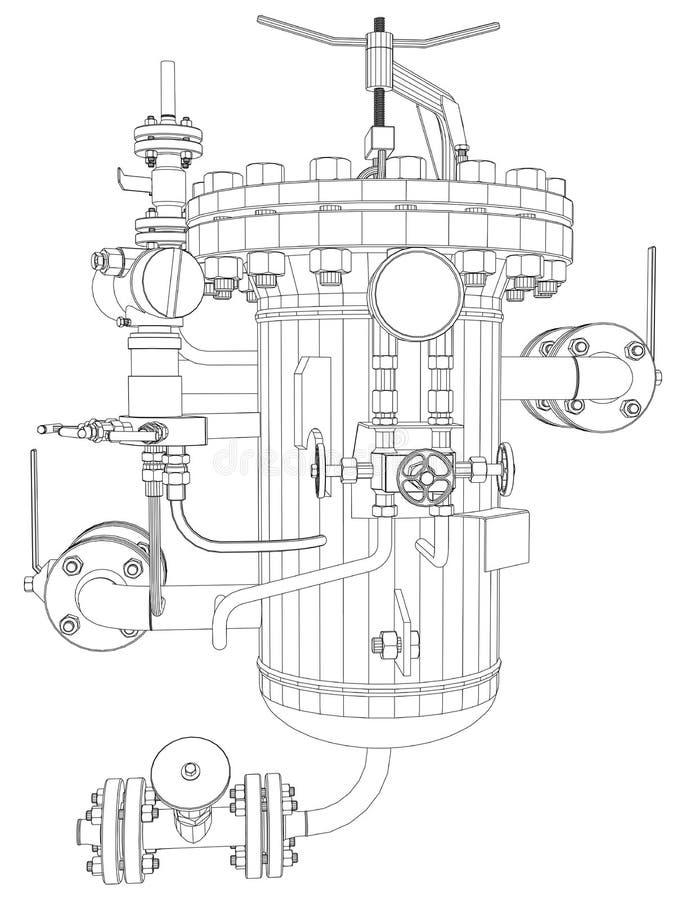 Bild av värmeexchangeren royaltyfri illustrationer