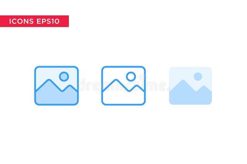 Bild, Bildikone in der Linie, Entwurf, gefüllter Entwurf und flache Entwurfsart lokalisiert auf weißem Hintergrund Vektor eps10 stock abbildung