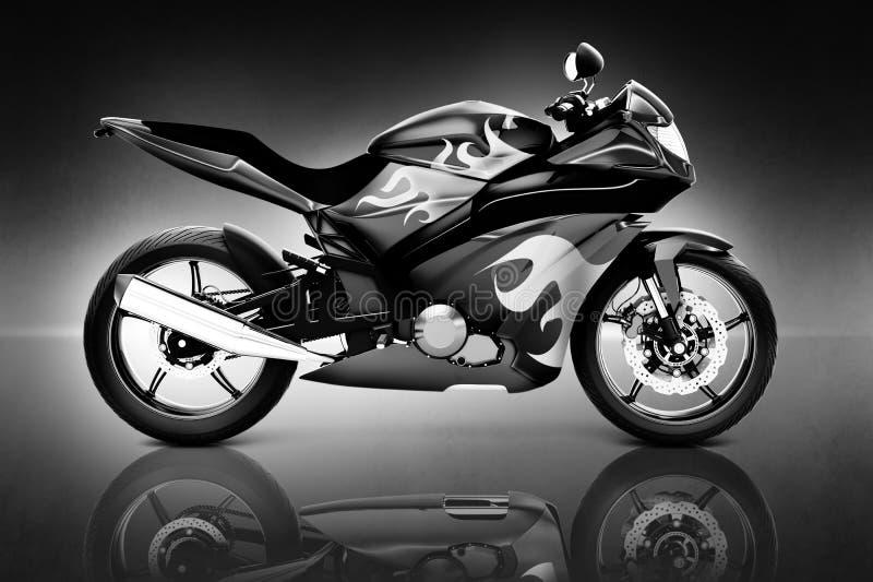 bild 3D av den svarta motorcykeln royaltyfri illustrationer