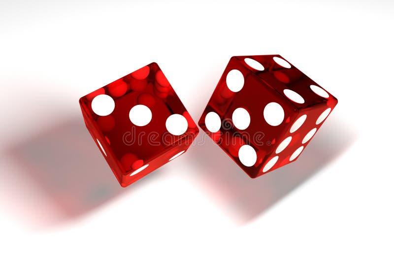 bild 3d: den högkvalitativa tolkningen av den genomskinliga röda rullningen tärnar med vita prickar Kuberna i ensemblekasten Hög  stock illustrationer