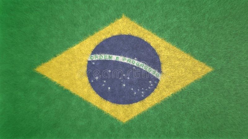 Bild 3D der Flagge von Brasilien stock abbildung