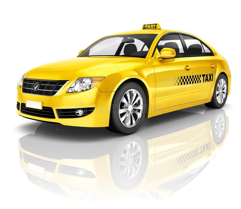 Bild 3D des gelben Taxis lizenzfreie stockfotos