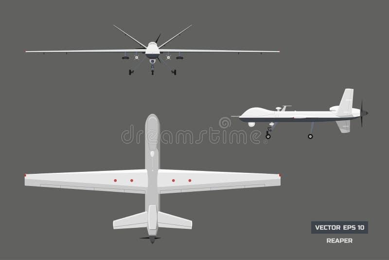 Bild 3d des Militärbrummens Spitzen-, vordere und Seitenansicht Armeeflugzeuge für Intelligenz und Angriff vektor abbildung