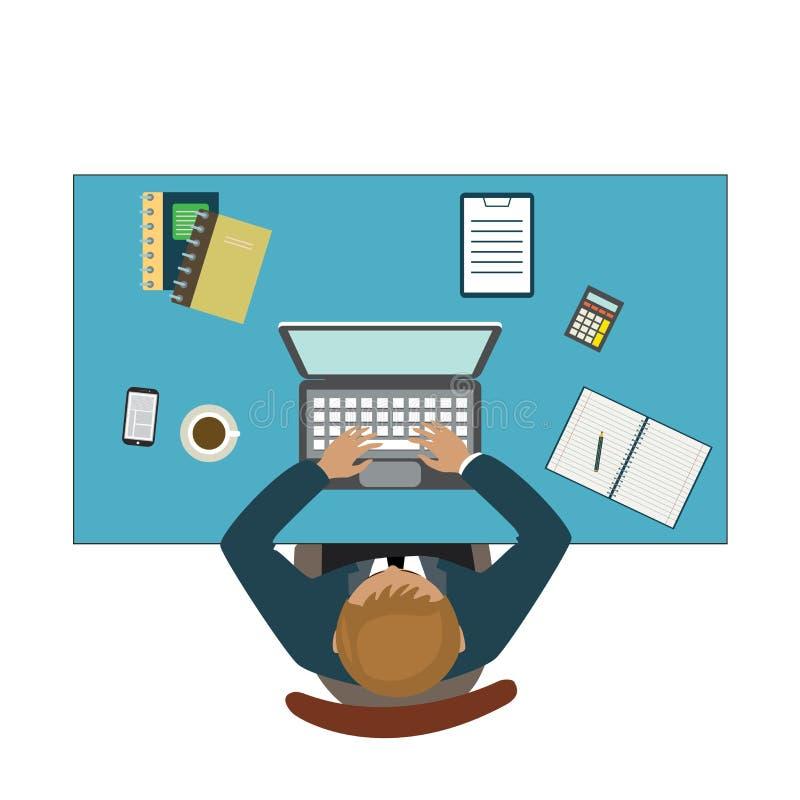 Bild 3D Geschäftsmann, der mit Laptop und Dokumenten arbeitet lizenzfreie abbildung