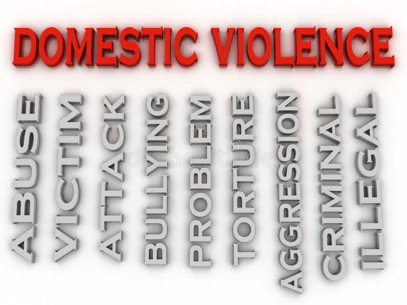 Bild 3d häusliche Gewalt gibt Konzeptwort-Wolkenhintergrund heraus stock abbildung