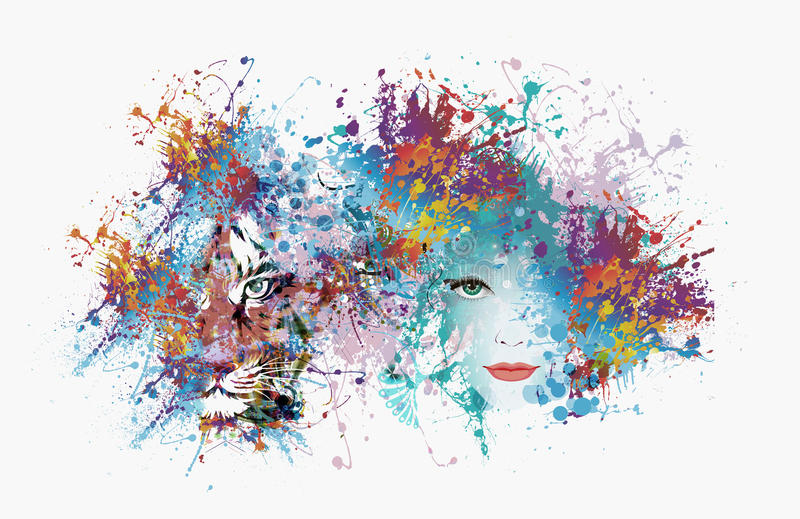 Bild der abstrakten Kunst mit Tiger lizenzfreies stockbild