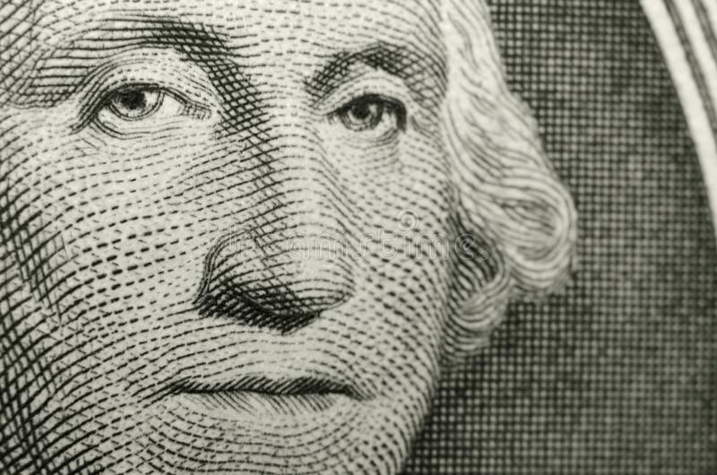 Bild der amerikanischen Ikone, George Washington, vom Gegenstücck des US-Dollars lizenzfreie abbildung