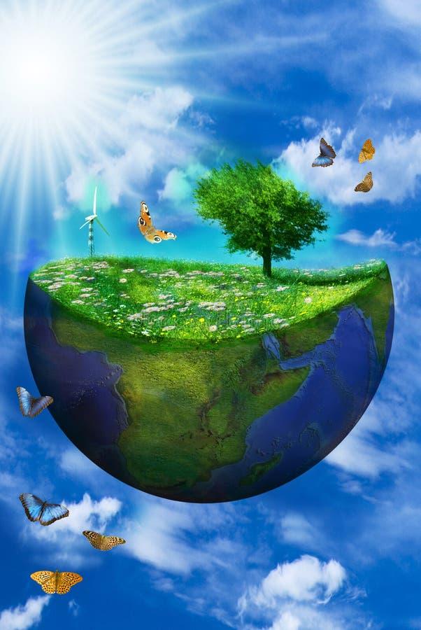 Bild der Erde in einem Zusammenhang der sauberen Energie stock abbildung