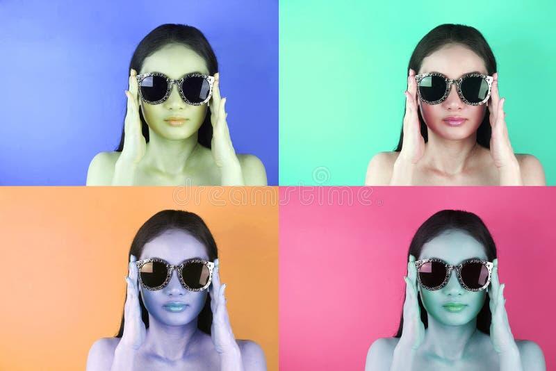 Bild der schönen Retro--angeredeten Frau in der Sonnenbrille auf unterschiedlichem stockbild