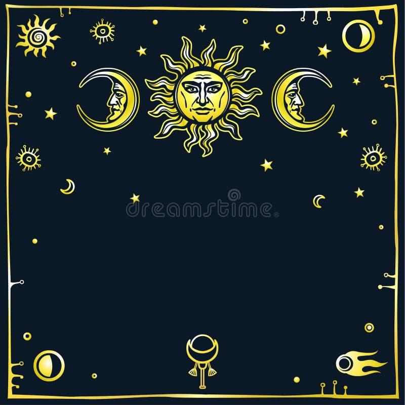 Bild der Sonne und des Mondes mit menschlichen Gesichtern vektor abbildung