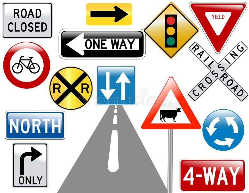 Bild der verschiedenen Verkehrsschilder lizenzfreie abbildung