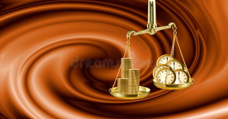 Bild der Waage, der Uhren und der Münzen als Symbol des Einkommens und der Reichtumsnahaufnahme stockfotos