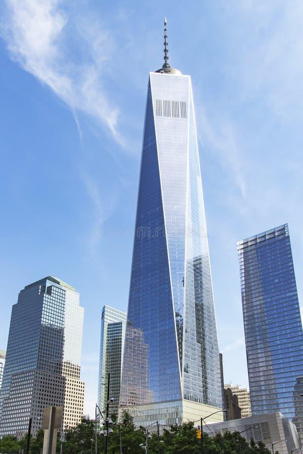 Bild der Wolkenkratzer herum eine Wold-Handels-Mitte in New York, Vereinigte Staaten stockbilder