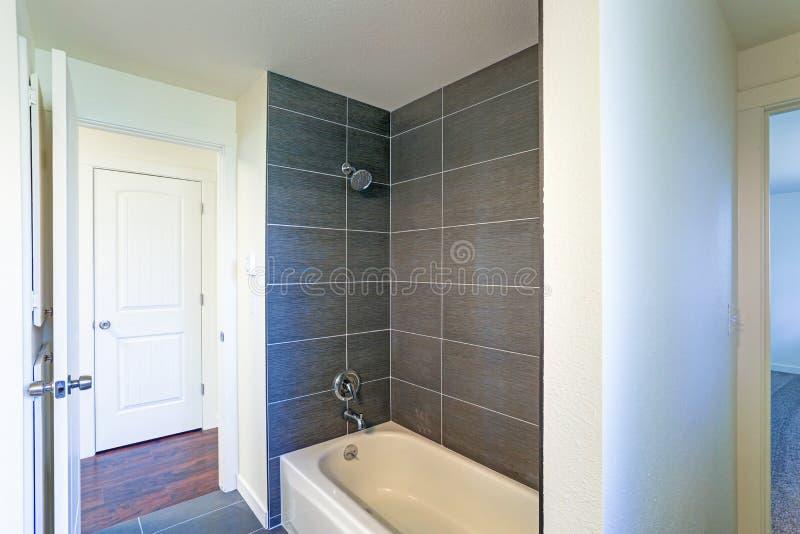 Bild des Badezimmerinnenraums mit Wannen- und Duschkombination stockfotografie