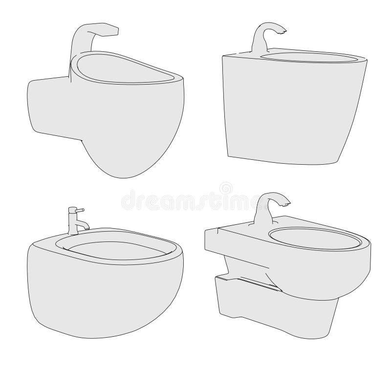 Bild des Bidets (Badezimmerelement) vektor abbildung
