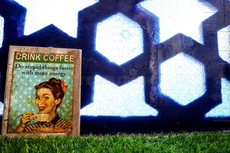 Bild des Damengetränkkaffees stockfoto